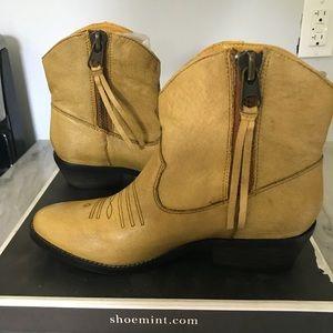 Mustard yellow cowboy bootie